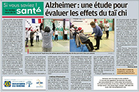 Taichi chuan et Alzheimer journal La Provence